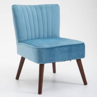Fauteuil design scandinave GOËT velours bleu