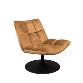 Fauteuil pivotant BAR LOUNGE de DutchBone velours GOLD BROWN