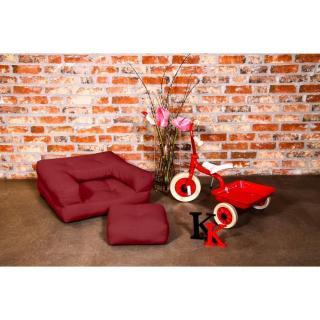 Fauteuil enfant CUBE 3 en 1 futon bordeaux couchage 60*135*12cm