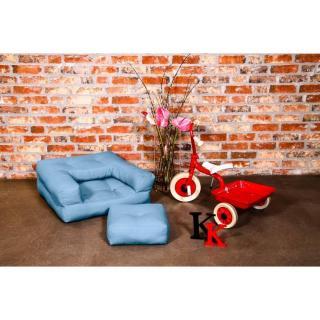 Fauteuil enfant CUBE 3 en 1 futon bleu celeste couchage 60*135*12cm