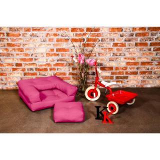 Fauteuil enfant CUBE 3 en 1 futon rose magenta couchage 60*135*12cm