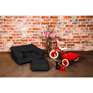 Fauteuil enfant CUBE 3 en 1 futon noir couchage 60*135*12cm