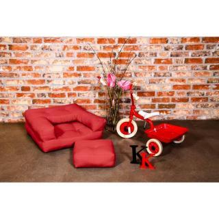 Fauteuil enfant CUBE 3 en 1 futon rouge couchage 60*135*12cm