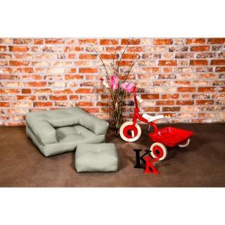 Fauteuil enfant CUBE 3 en 1 futon taupe clair couchage 60*135*12cm