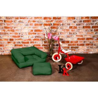 Fauteuil enfant CUBE 3 en 1 futon vert bouteille couchage 60*135*12cm