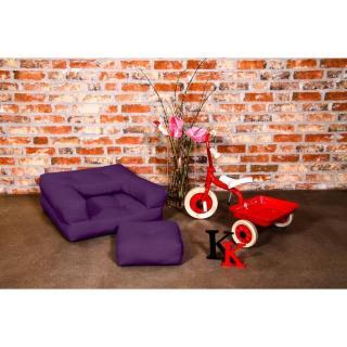 Fauteuil enfant CUBE 3 en 1 futon violet couchage 60*135*12cm