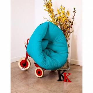 Fauteuil lit enfant NEST futon bleu azur couchage 75*150*10cm
