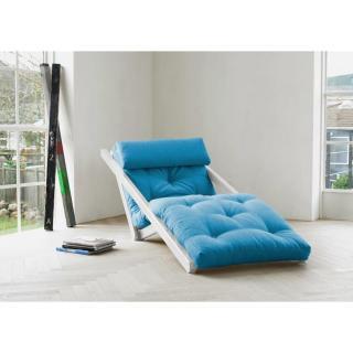 Chaise longue convertible blanche FIGO futon bleu azur couchage 70*200cm
