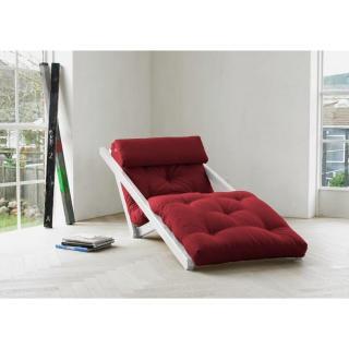 Chaise longue convertible blanche FIGO futon bordeaux couchage 70*200cm