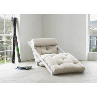 Chaise longue convertible blanche FIGO futon écru couchage 70*200cm