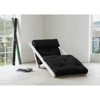 Chaise longue convertible blanche FIGO futon grey graphite couchage 70*200cm