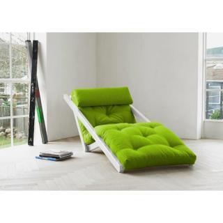 Chaise longue convertible blanche FIGO futon vert lime couchage 70*200cm