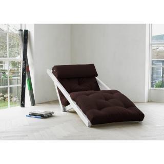 Chaise longue convertible blanche FIGO futon marron couchage 70*200cm