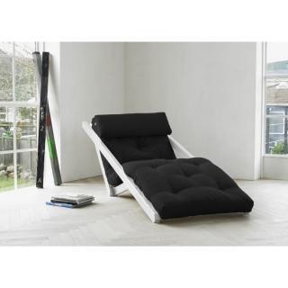 Chaise longue convertible blanche FIGO futon noir couchage 70*200cm
