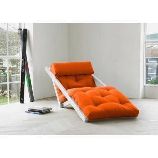 Chaise longue convertible blanche FIGO futon orange couchage 70*200cm