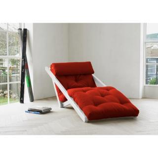 Chaise longue convertible blanche FIGO futon rouge couchage 70*200cm
