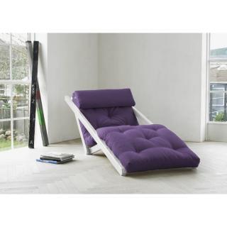 Chaise longue convertible blanche FIGO futon violet couchage 70*200cm