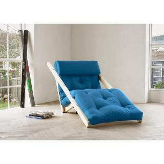 Chaise longue convertible style scandinave FIGO futon bleu azur couchage 70*200cm
