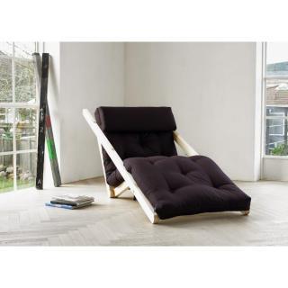 Chaise longue convertible style scandinave FIGO futon grey graphite couchage 70*200cm