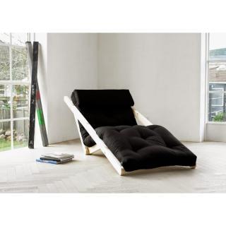 Chaise longue convertible style scandinave FIGO futon noir couchage 70*200cm
