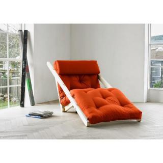 Chaise longue convertible style scandinave FIGO futon orange couchage 70*200cm
