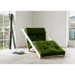 Chaise longue convertible style scandinave FIGO futon vert couchage 70*200cm
