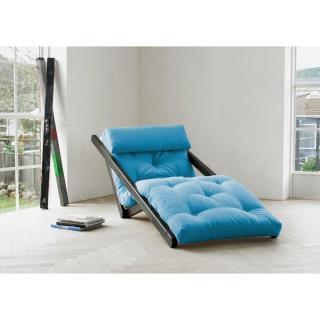 Chaise longue convertible wengé FIGO futon bleu azur couchage 70*200cm