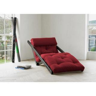Chaise longue convertible wengé FIGO futon bordeaux couchage 70*200cm