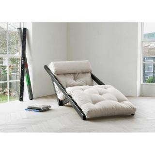 Chaise longue convertible wengé  FIGO futon écru couchage 70*200cm
