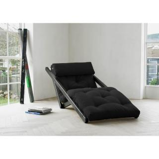 Chaise longue convertible wengé  FIGO futon grey graphite couchage 70*200cm