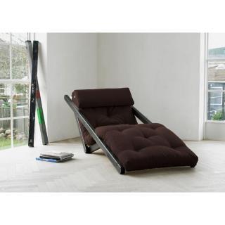 Chaise longue convertible wengé FIGO futon marron couchage 70*200cm
