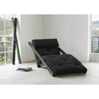 Chaise longue convertible wengé  FIGO futon noir couchage 70*200cm