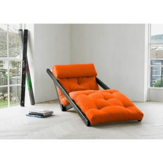 Chaise longue convertible wengé  FIGO futon orange couchage 70*200cm