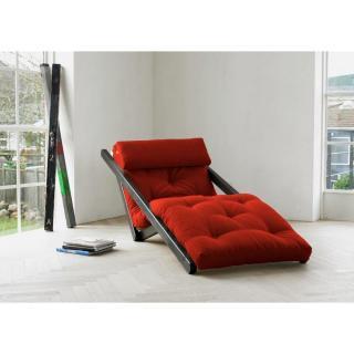 Chaise longue convertible wengé FIGO futon rouge couchage 70*200cm