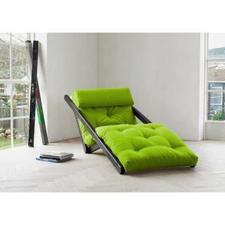 Chaise longue convertible wengé  FIGO futon vert lime couchage 70*200cm