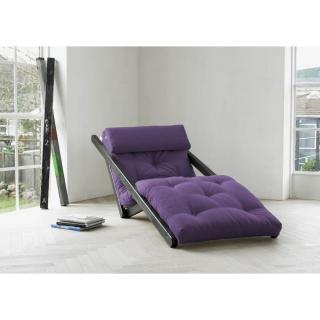 Chaise longue convertible wengé  FIGO futon violet couchage 70*200cm