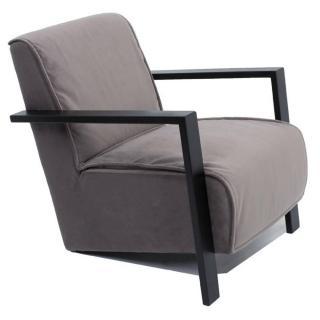 Fauteuil style contemporain UMA tissu velours gris