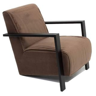 Fauteuil style contemporain UMA tissu velours marron