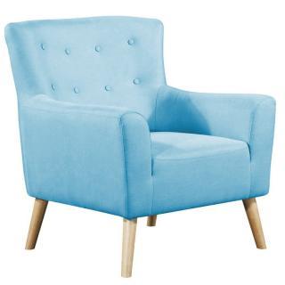 fauteuil fixe design scandinave BELLARIA tissu tweed bleu azur