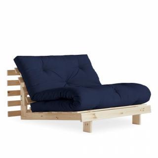 Fauteuil convertible futon RACINES pin naturel coloris bleu marine couchage 90 x 200 cm.