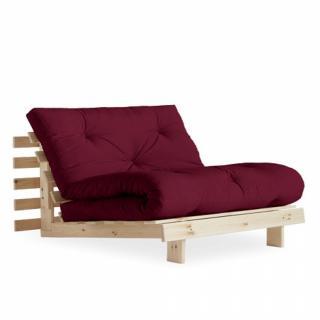 Fauteuil convertible futon RACINES pin naturel coloris bordeaux couchage 90 x 200 cm.