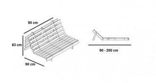 Fauteuil convertible futon RACINES pin naturel coloris gris clair couchage 90 x 200 cm.