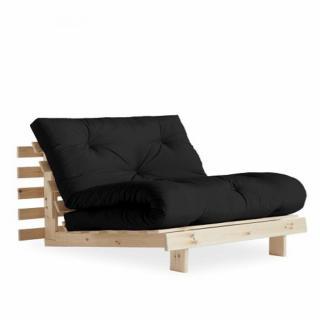 Fauteuil convertible futon RACINES pin naturel coloris gris foncé couchage 90 x 200 cm.