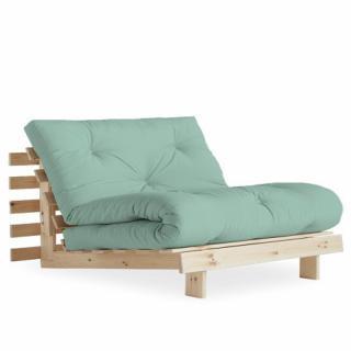 Fauteuil convertible futon RACINES pin naturel coloris menthe couchage 90 x 200 cm.