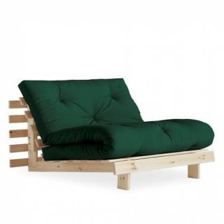 Fauteuil convertible futon RACINES pin naturel coloris vert forêt couchage 90 x 200 cm.