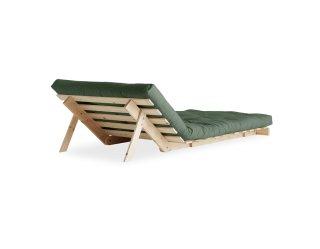 Fauteuil convertible futon RACINES pin naturel coloris vert olive couchage 90 x 200 cm.