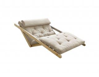 Fauteuil futon style scandinave VIGGO pin massif tissu beige couchage 120*200 cm.