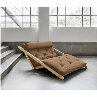 Fauteuil futon style scandinave VIGGO pin massif tissu mocca couchage 120*200 cm.