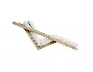 Fauteuil futon style scandinave VIGGO pin massif tissu naturel couchage 120*200 cm.