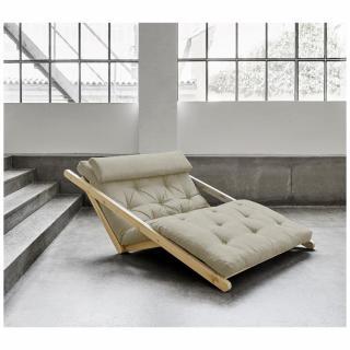 Fauteuil futon style scandinave VIGGO pin massif tissu lin couchage 120*200 cm.